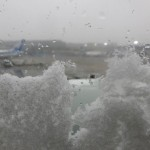 Snow on the plane windows