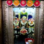The inner sanctum of the ashram - statues of Lord Dattatreya, Sripada Srivallabha and his next incarnation, Lakshmi Narasimha Swami