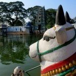 Nandi, the vehicle of Lord Shiva, looking to the lingam
