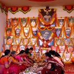 The women on the dais during the Lalaitha Puja