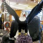 A stone eagle on the flight