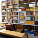The library with busts of Schelling, Hegel and Fichte, three great German philosophers - inspirers of Steiner