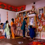 Setting up the Guru Puja compound