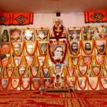 The altar with the images of spiritual Masters
